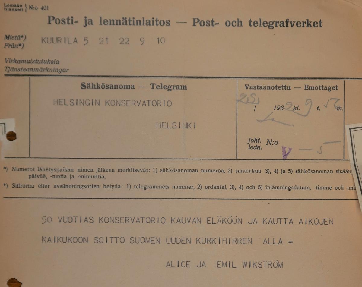 Skulptören Emil Wikströms och hans hustru Alice Wikströms gratulationstelegram till Helsingfors Konservatorium.