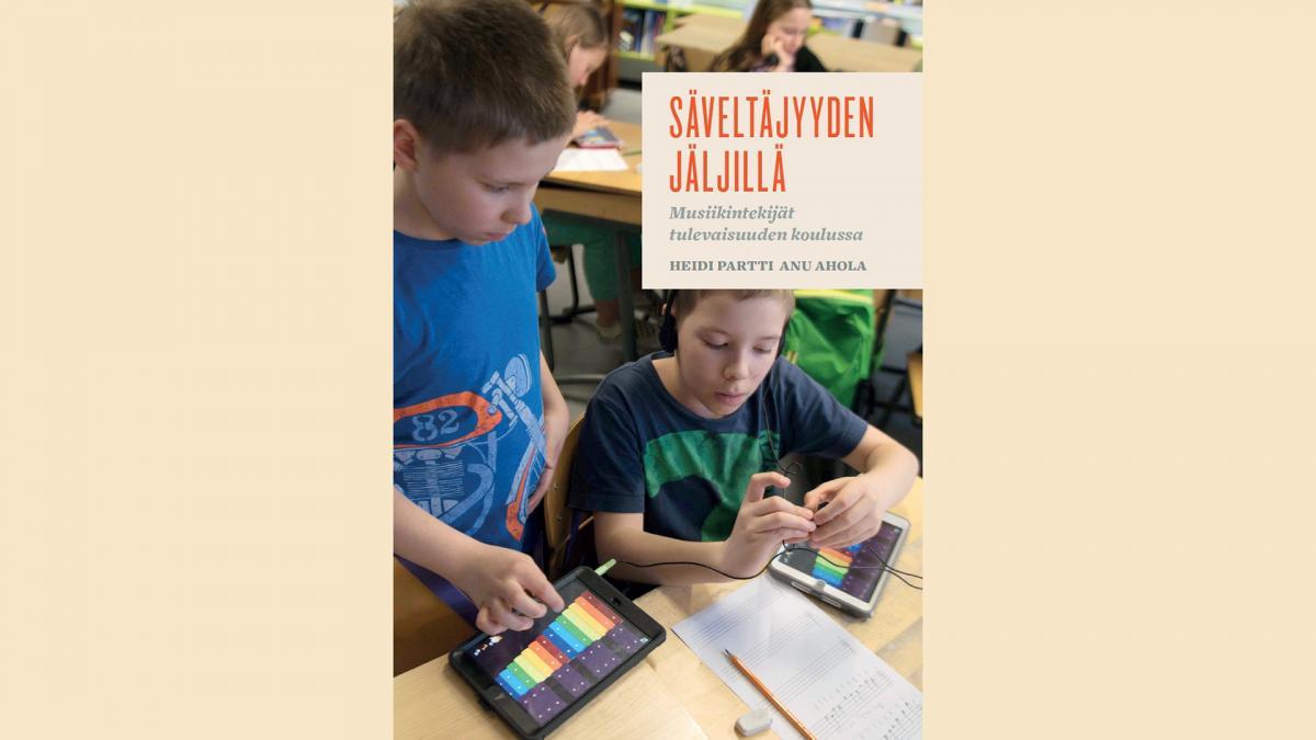Kuva Heidi Partin kirjan kannesta. Kansikuvassa kaksi poikaa kuuntelee musiikkia.