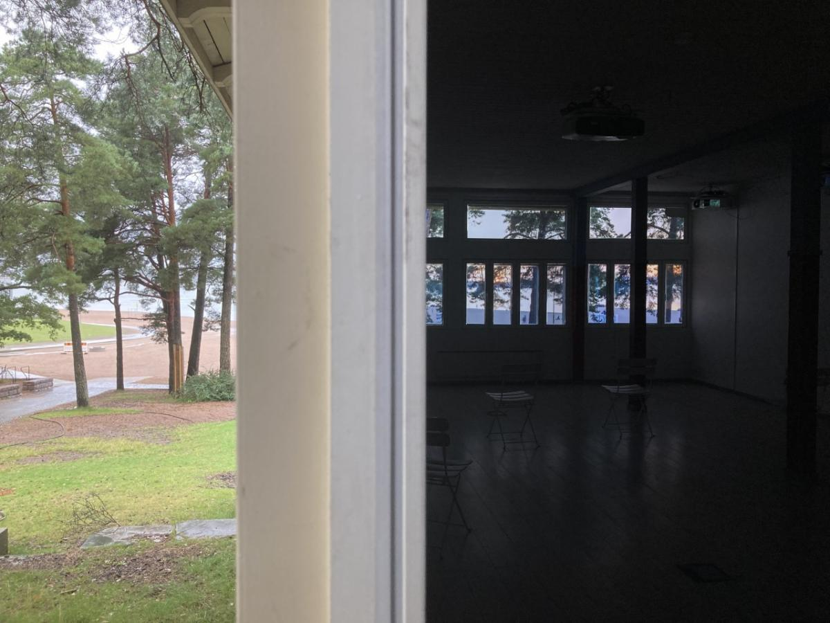"""Salla Myllylä's """"Vuodenaikahuone"""" at Research Pavilion #4. Installation view showing the interior space and the surroundings of the building."""