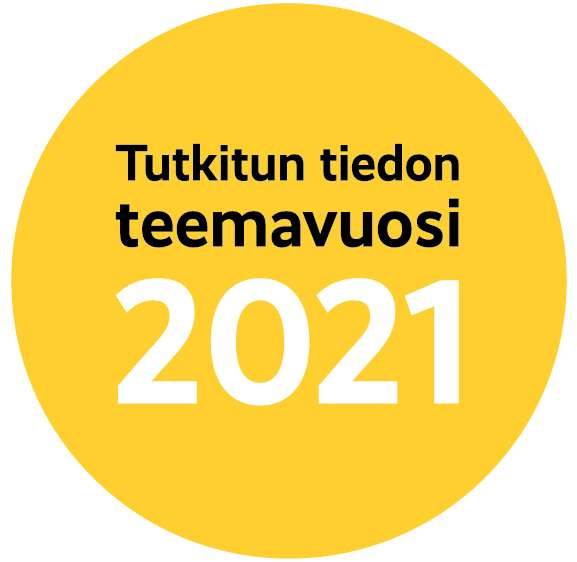 The round logo of the Year of Research-Based Knowledge 2021 in yellow, the text is in Finnish.
